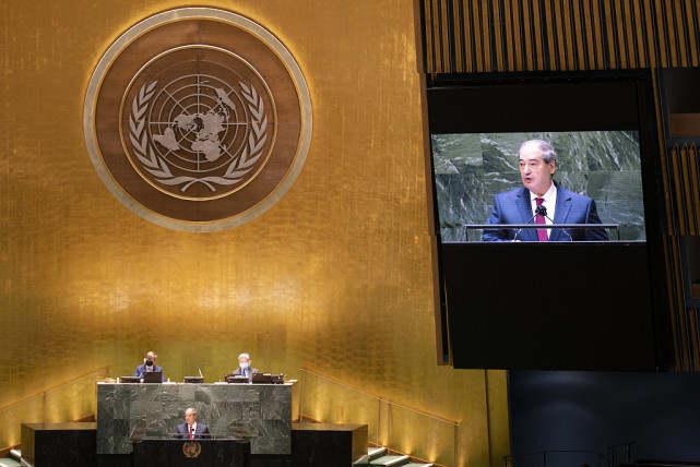 叙利亚外长在联合国大会讲话 图源:人民视觉